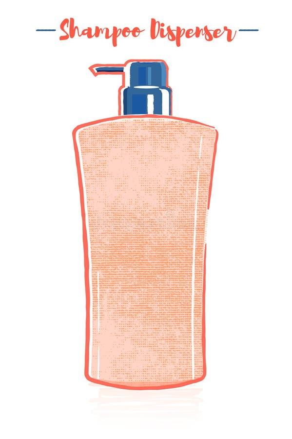 Blyertspenna och texturerad orange vektorillustration för stil av en flaska för utmatare för schampo för skönhetredskaphår royaltyfri illustrationer