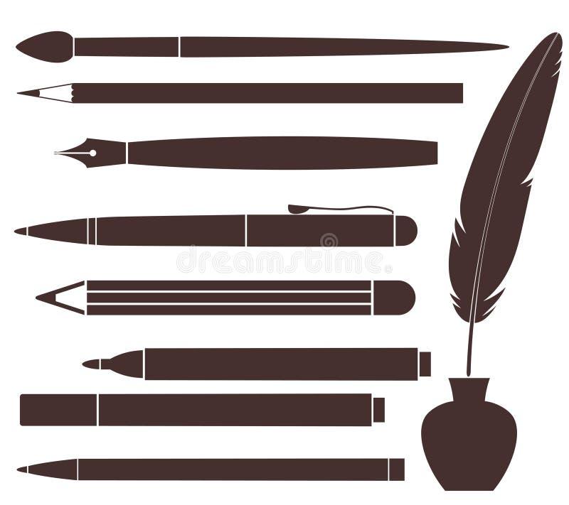 Blyertspenna. Penna. Borste. Filtpenna. Fjäder
