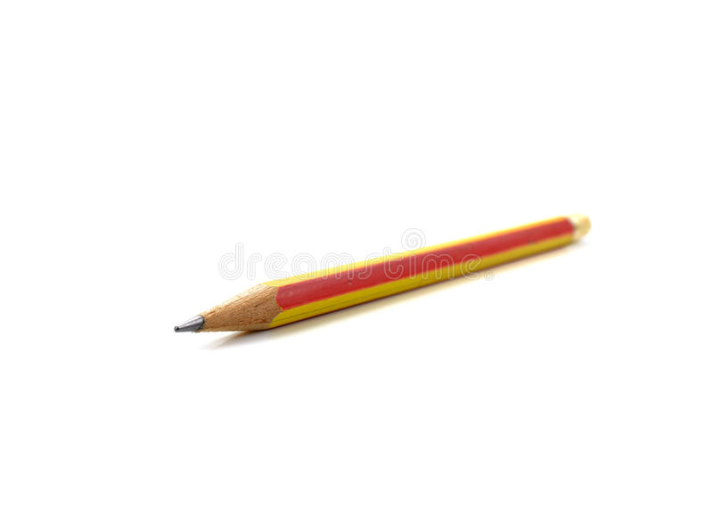 Blyertspenna som isoleras på ren vit bakgrund royaltyfri fotografi
