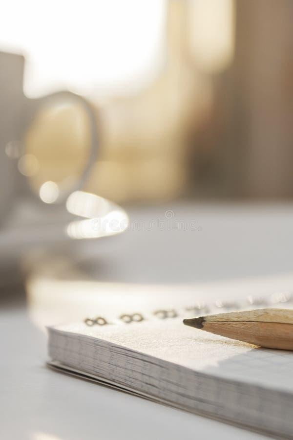 Blyertspenna som ligger på en anteckningsbok fotografering för bildbyråer
