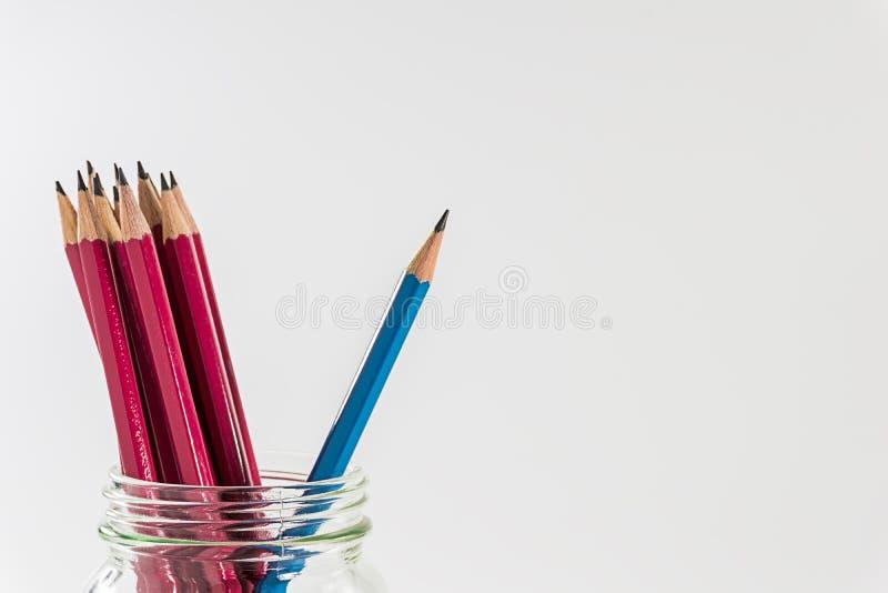 Blyertspenna ut ur gruppen av röda blyertspennor royaltyfri fotografi