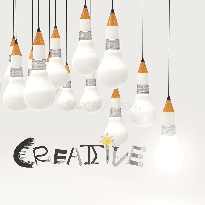Blyertspennalightbulb 3d och IDÉRIKT designord royaltyfri illustrationer