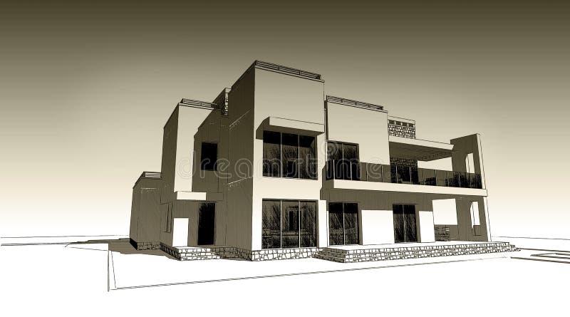 blyertspennan 3d skissar illustrationen av en modern byggande yttre fasaddesign Gammalt papper eller sepia stock illustrationer