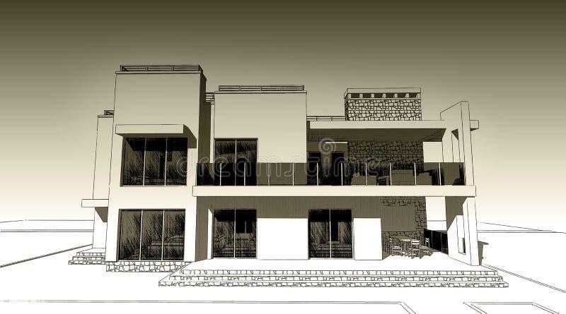 blyertspennan 3d skissar illustrationen av en modern byggande yttre fasaddesign Gammalt papper eller sepia vektor illustrationer