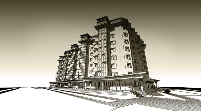 blyertspennan 3d skissar illustrationen av en modern privat byggande yttre fasaddesign Gammalt papper eller sepia royaltyfri illustrationer
