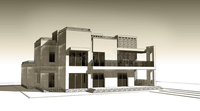 blyertspennan 3d skissar illustrationen av en modern privat byggande yttre fasaddesign Gammalt papper eller sepia vektor illustrationer