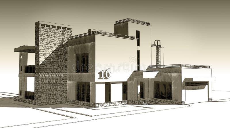blyertspennan 3d skissar illustrationen av en modern privat byggande yttre fasaddesign Gammalt papper eller sepia stock illustrationer