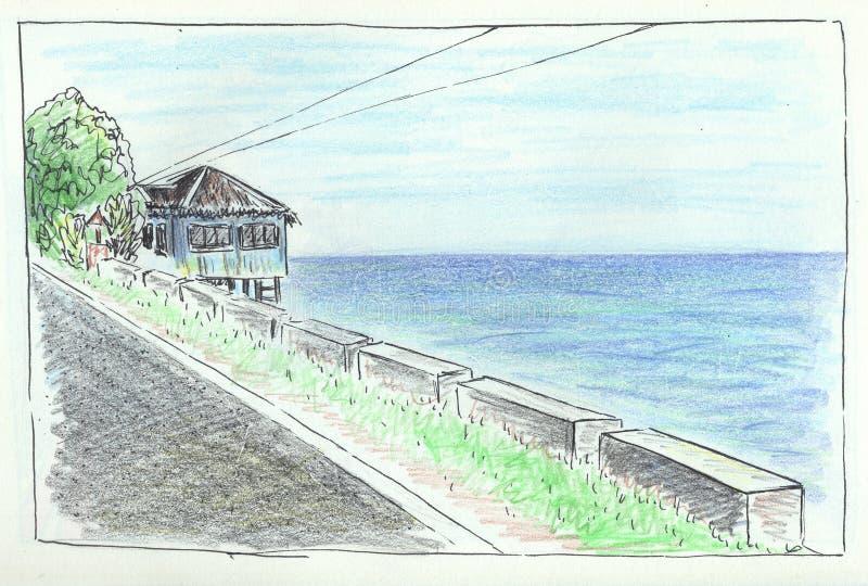 Blyertspennan för landskapet för sommarloppvägen skissar Handdrawn illustration för Seaview roadscape Tropisk ö av Filippinerna royaltyfri illustrationer