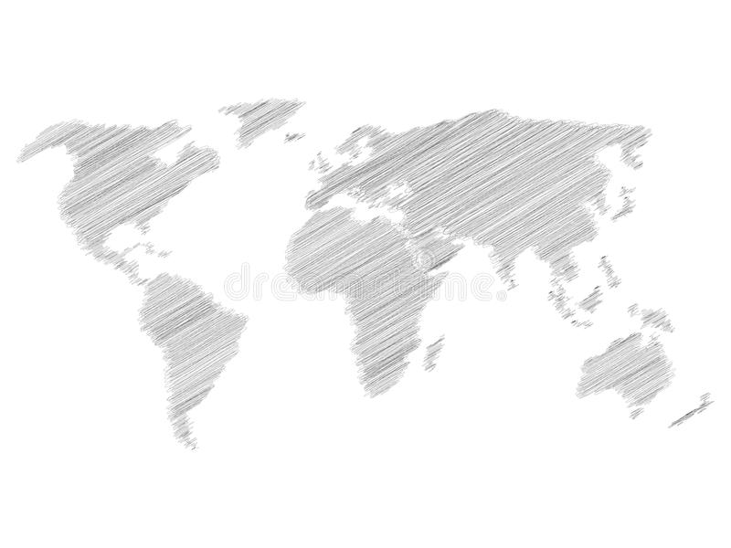 Blyertspennan klottrar skissar översikten av världen Handklotterteckning Grå vektorillustration på vit bakgrund stock illustrationer