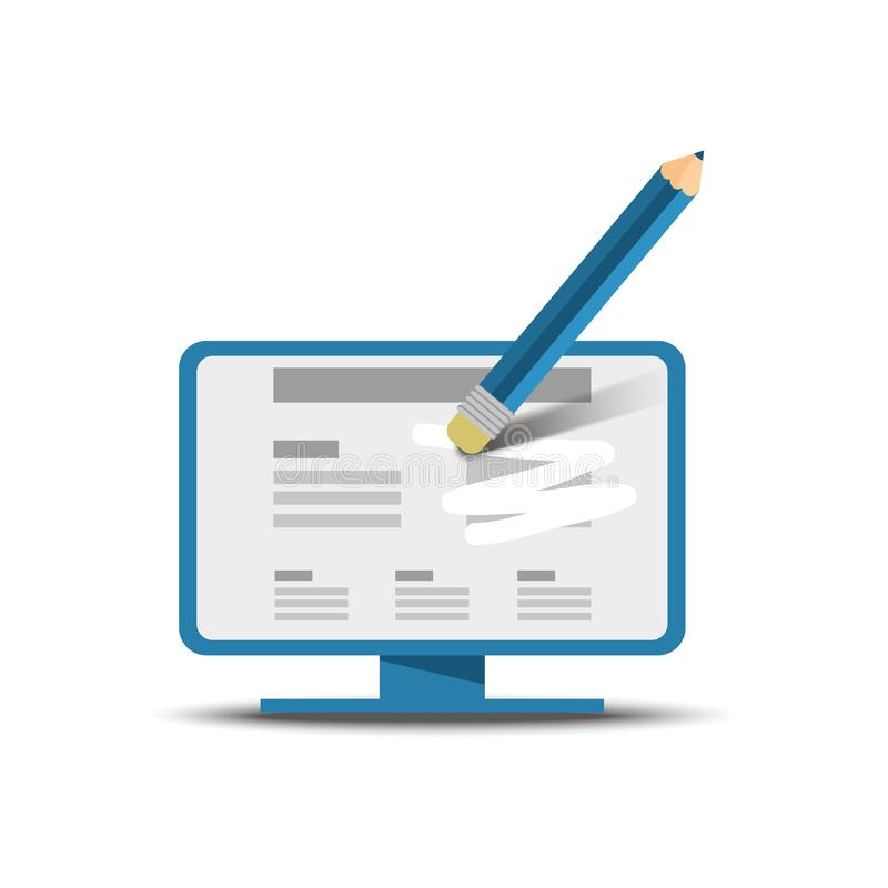 Blyertspennan med gummi tar bort text från skärmen stock illustrationer