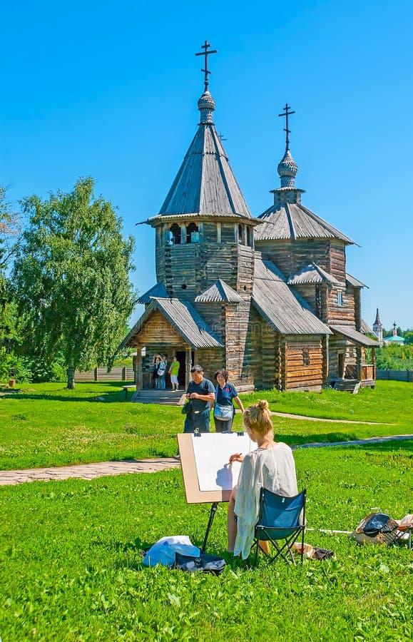 Blyertspennan skissar av den Suzdal kyrkan royaltyfria foton