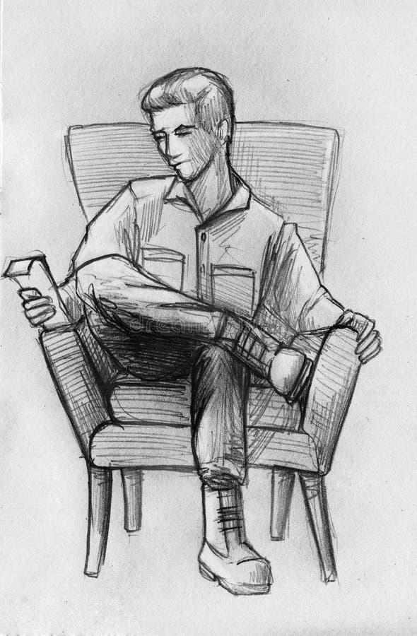 Blyertspennan skissar av en man i fåtölj vektor illustrationer