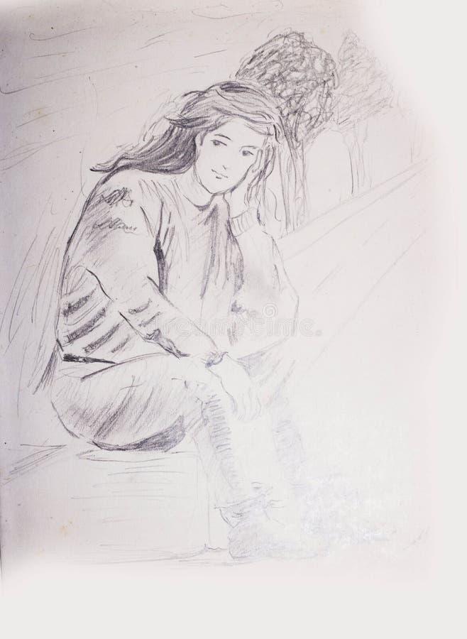 Blyertspennan skissar av en ung flicka som sitter på en bana och vänta för fot arkivfoton