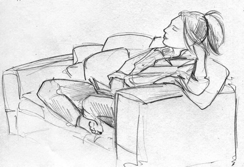 Blyertspennan skissar av kvinna på soffan stock illustrationer