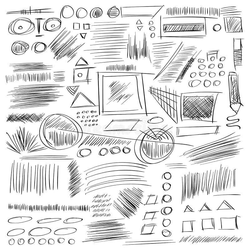 Blyertspennan skissar Den drog handen klottrar former En uppsättning av klottret lin vektor illustrationer