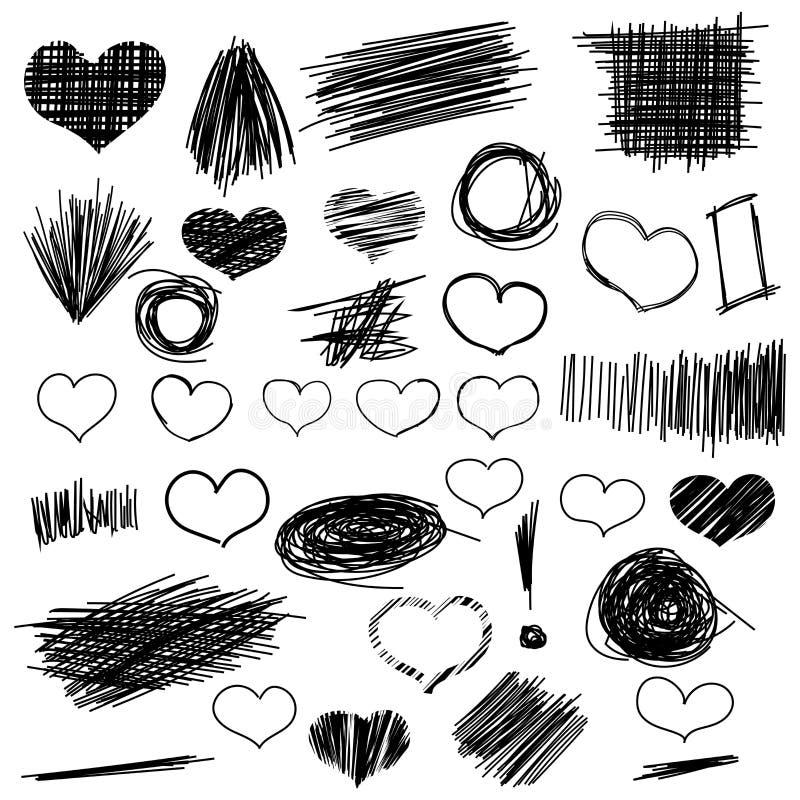 Blyertspennan skissar Den drog handen klottrar former och hjärta En uppsättning av stock illustrationer
