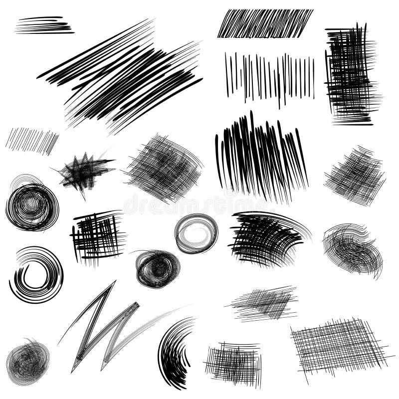 Blyertspennan skissar Den drog handen klottrar uppsättningen för former A av klotterlinjen vektor illustrationer