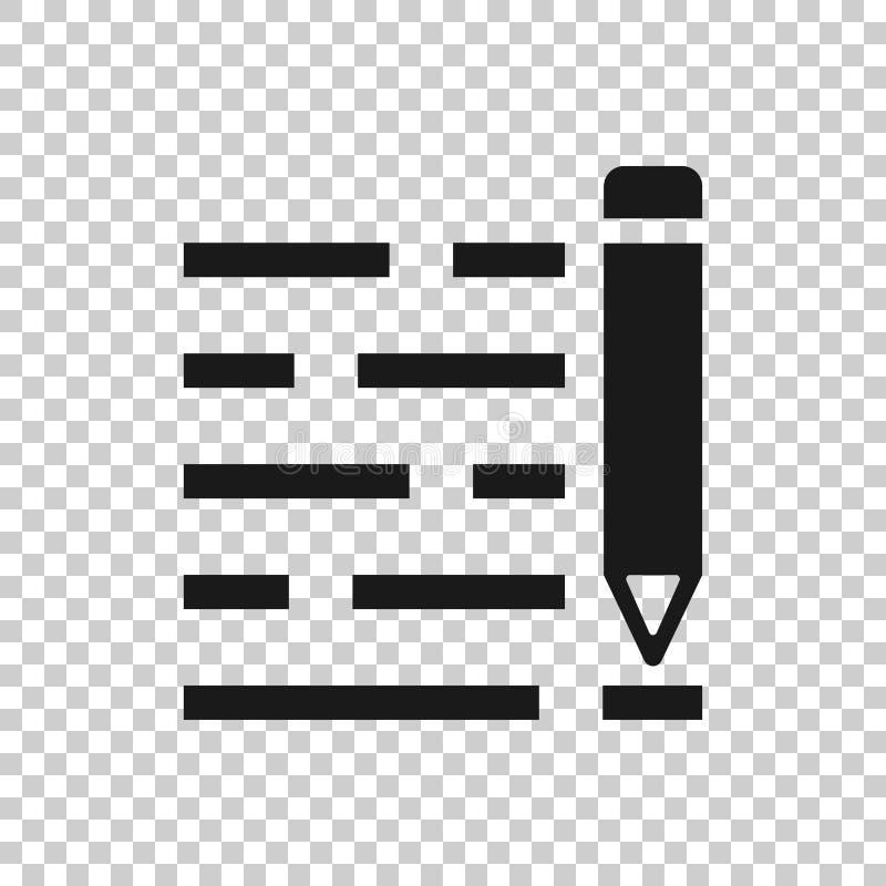 Blyertspennanotepadsymbol i genomskinlig stil Dokumentet skriver vektorillustrationen på isolerad bakgrund Pennteckningsaff?rsid? vektor illustrationer