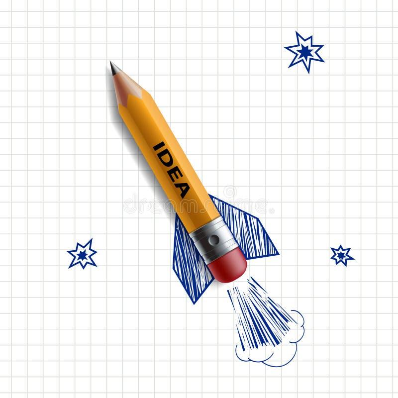 Blyertspennaraket för illustrationorange för bakgrund ljust materiel royaltyfri illustrationer