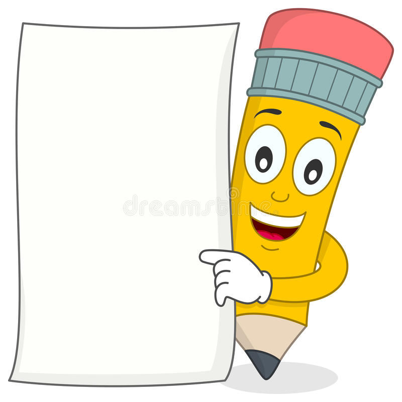 Blyertspennatecken med vitt tomt papper royaltyfri illustrationer