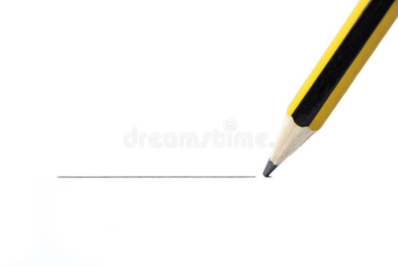 Blyertspennateckning en rak linje som isoleras på vit bakgrund arkivfoton