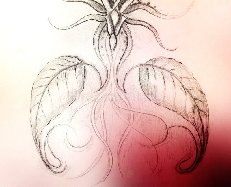Blyertspennateckning på gammalt papper dekorativ blomma Och färgfläckar på bakgrund royaltyfri illustrationer