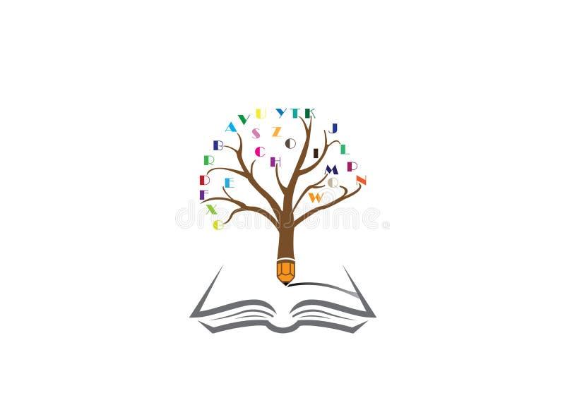 Blyertspennaträd med alfabetet i ris och att skriva i en öppen bok för logodesign royaltyfri illustrationer