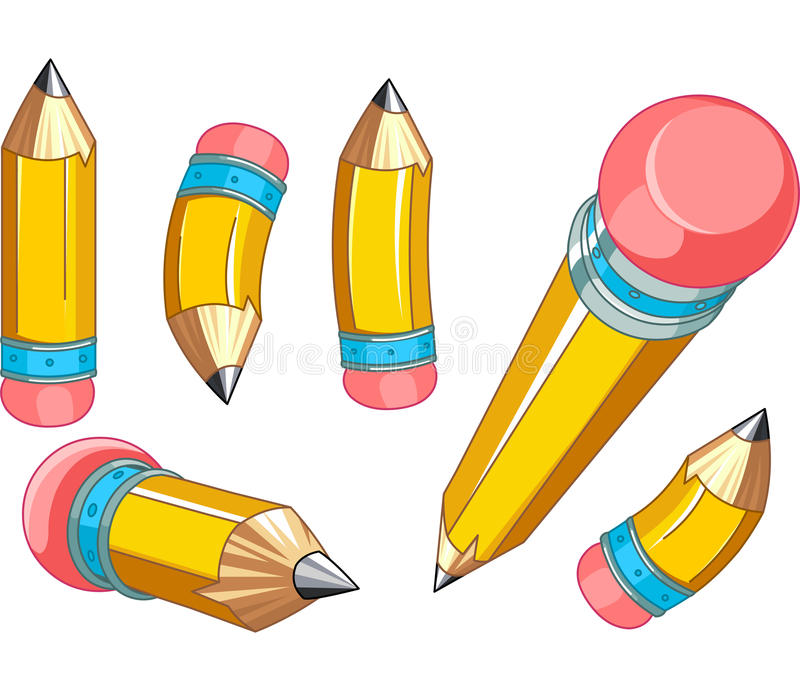 Blyertspennauppsättning stock illustrationer