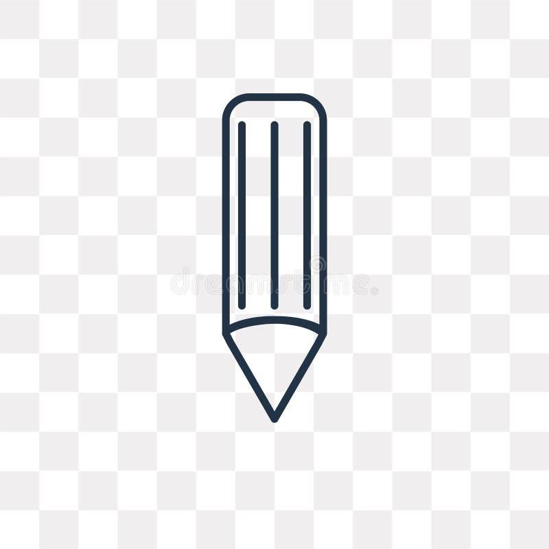 Blyertspennavektorsymbol som isoleras på genomskinlig bakgrund, linjär Pe stock illustrationer