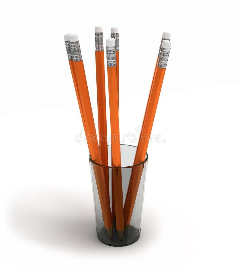 Blyertspennor i ett exponeringsglas på den vita illustrationen för bakgrund 3D stock illustrationer