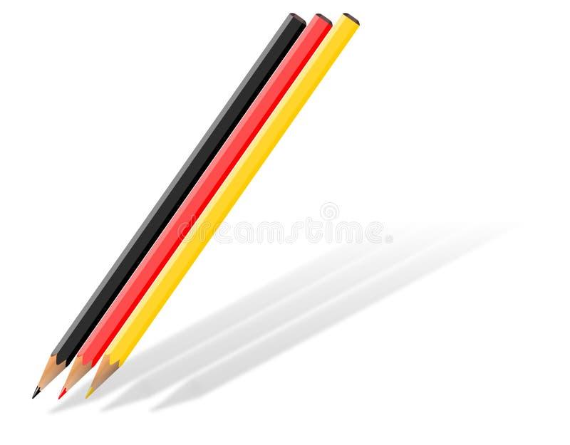 Blyertspennor i svart, rött och guld- arkivfoto