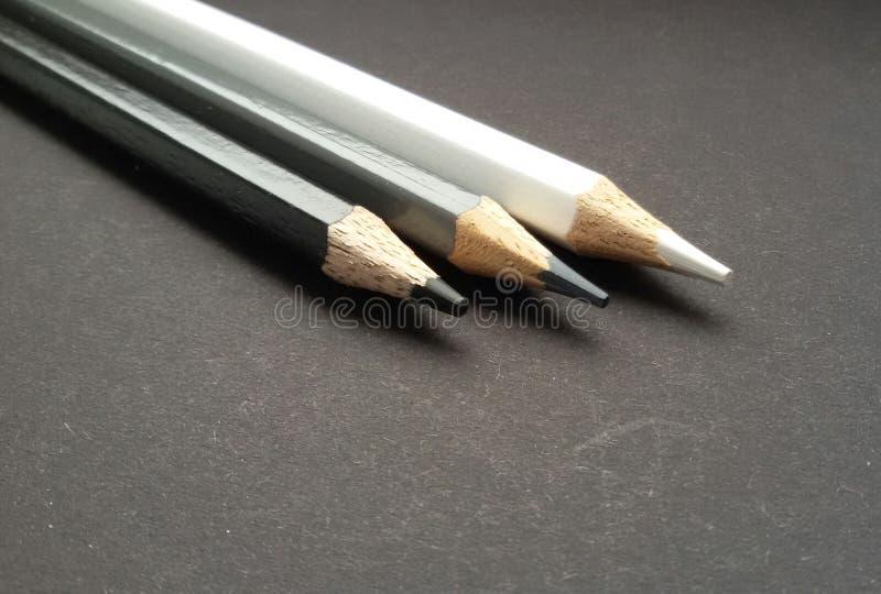 Blyertspennor i vit, grå färger och svart Kulöra blyertspennor över svart bakgrund arkivbilder