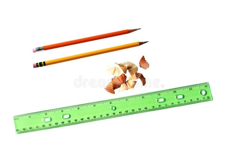 Blyertspennor och linjal fotografering för bildbyråer