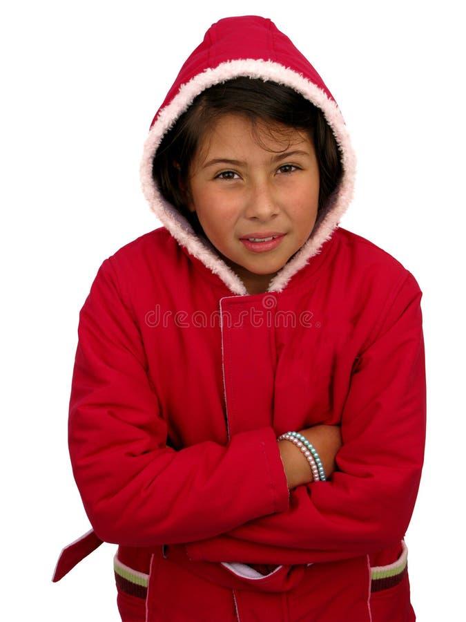 blygt barn för fnissflicka arkivfoto
