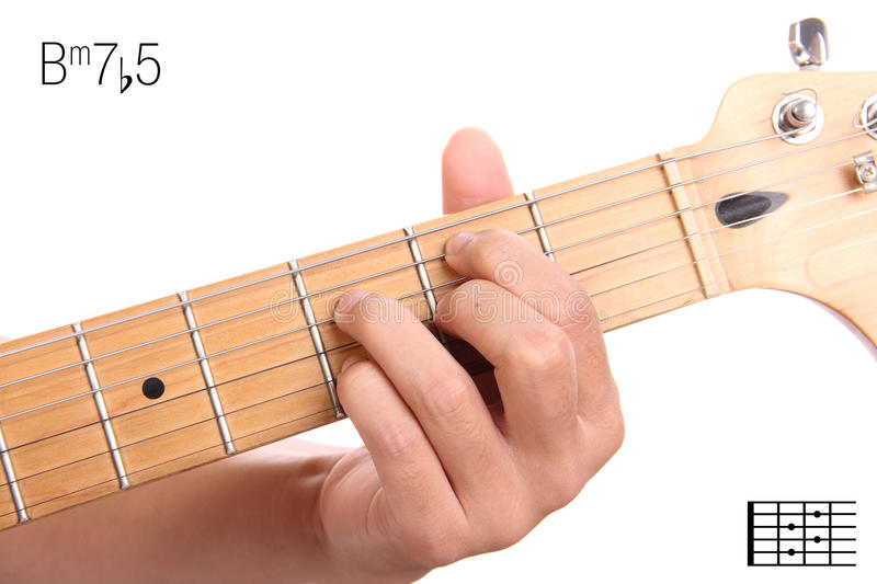 Bm7b5 Guitar Chord Tutorial Stock Image Image Of Keys Advanced