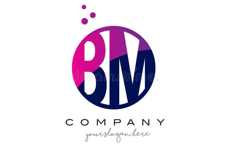 BM B M Circle Letter Logo Design com Dots Bubbles roxo ilustração do vetor