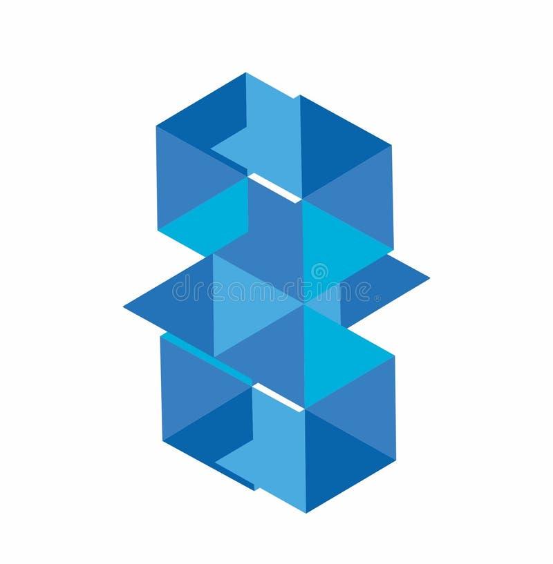 BM, BW, GM, blå diamantvektorillustration och logo stock illustrationer