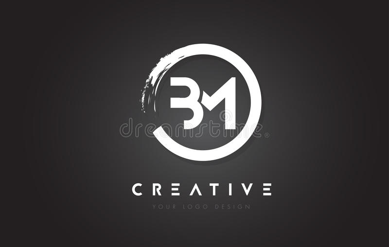 BM Circular Letter Logo with Circle Brush Design and Black Background. vector illustration