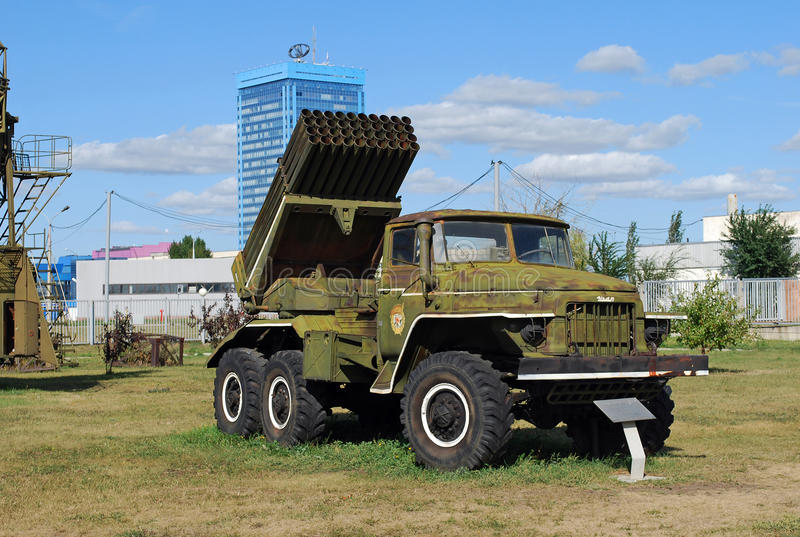 BM-21 the Hail on the basis of the Ural 375D car. Technical museum K.G. Sakharova. Togliatti. Volley installation of BM-21 the Hail on the basis of the Ural 375D royalty free stock photo