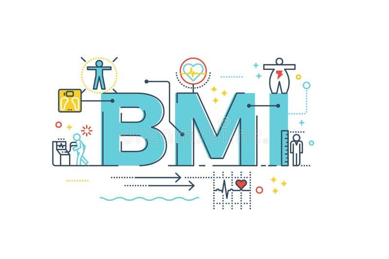 BMI :身体容积指数词 库存例证