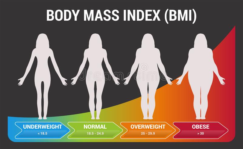BMI Body Mass Index Black or Dark Infographic Chart Vector Illustration with Woman Silhouettes from Underweight to Obese. Poster royalty free illustration