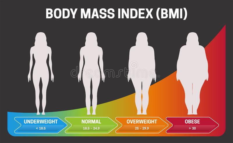 BMI Body Mass Index Black or Dark Infographic Chart Vector Illustration with Woman Silhouettes from Underweight to Obese Poster royalty free illustration