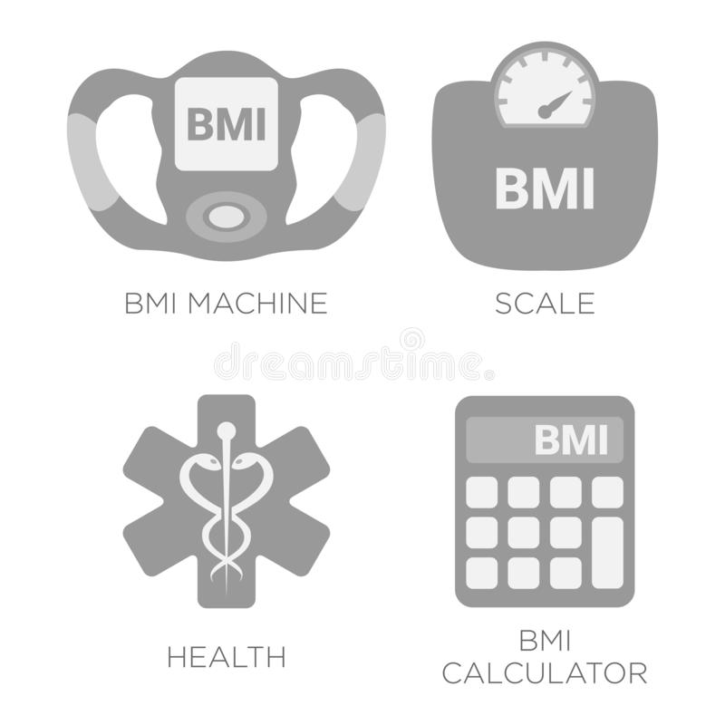 BMI Body Mass Index Calculation Gray Illustration Icon Set with BMI Machine,  Scale Measuring and Health, BMI Calculator Icons royalty free illustration