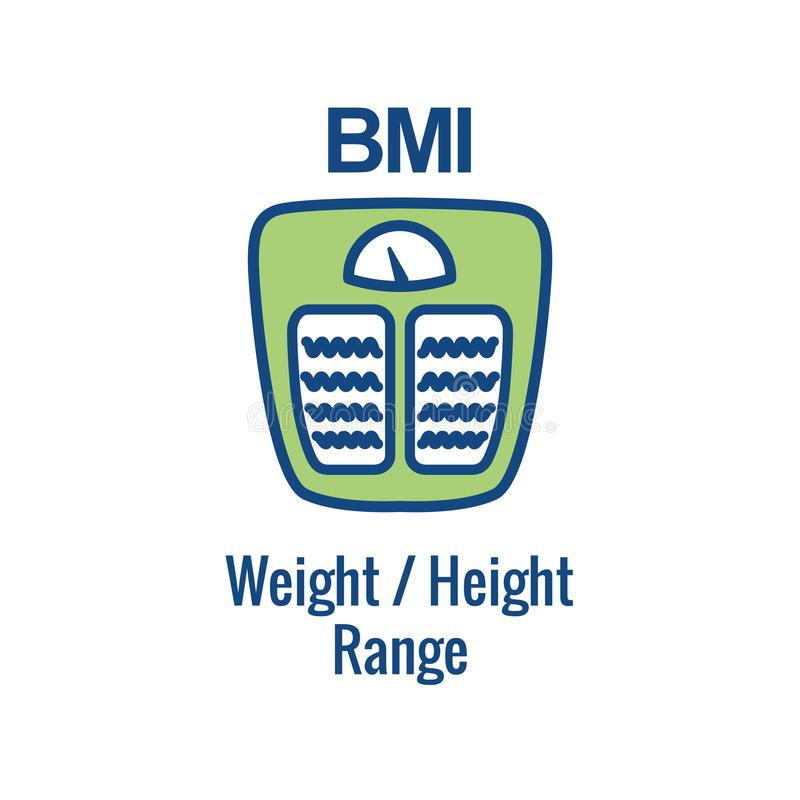 BMI / Body Mass Index Icon - image portraying weight balance stock illustration