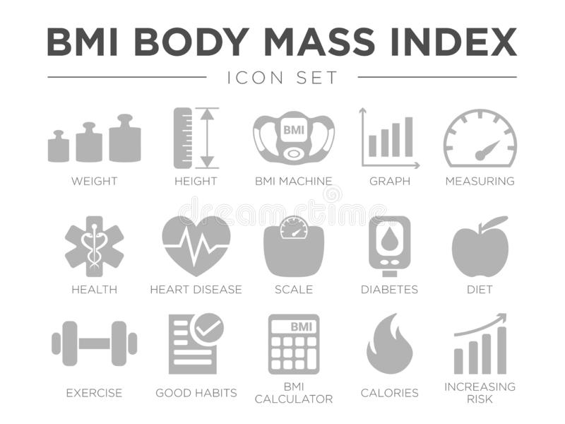 BMI Body Mass Index Icon Set. Weight, Height, BMI Machine, Graph, Measuring, Health, Heart Disease, Scale, Diabetes, Diet, vector illustration