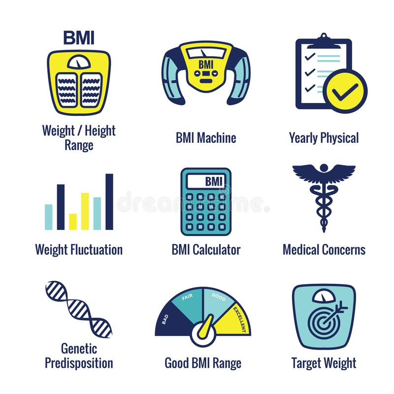 BMI / Body Mass Index Icons w scale, indicator, & calculator. BMI / Body Mass Index Icons w scale, indicator, and calculator stock illustration