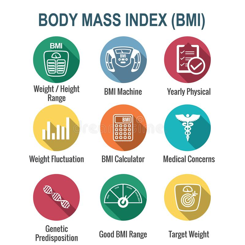 BMI / Body Mass Index Icons w scale, indicator, & calculator vector illustration