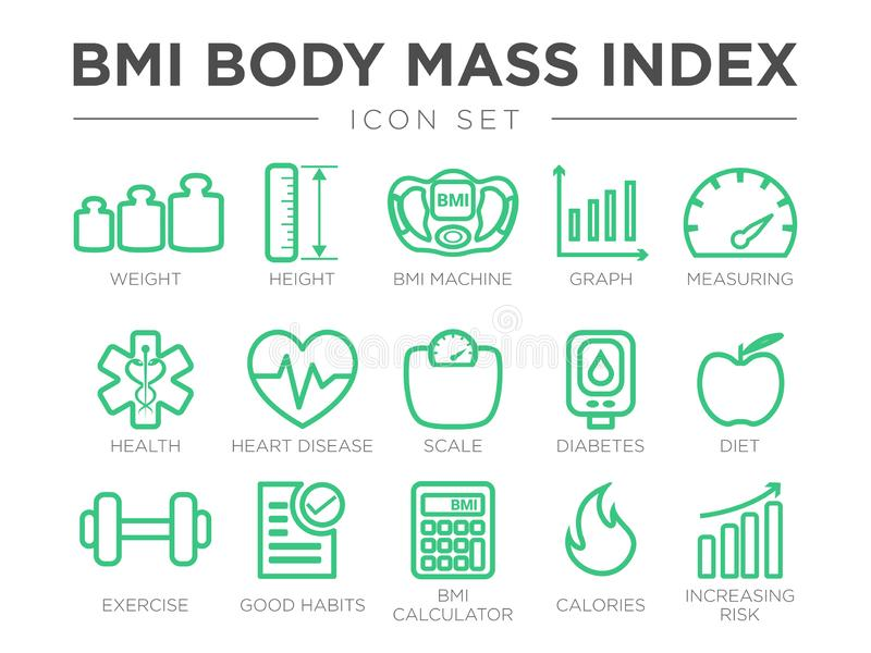 BMI Body Mass Index Outline Icon Set. Weight, Height, BMI Machine, Graph, Measuring, Health, Heart Disease, Scale, Diabetes, Diet stock illustration
