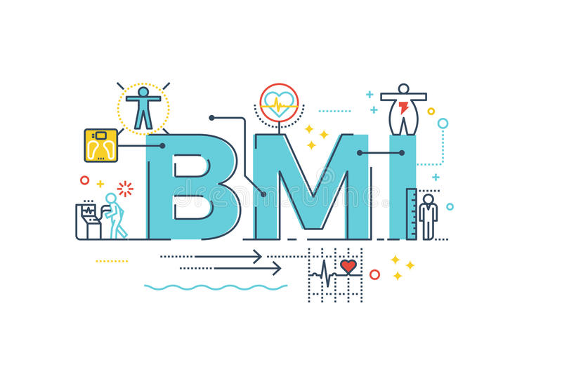 BMI : Body Mass Index word. Lettering typography design illustration with line icons and ornaments in blue theme stock illustration
