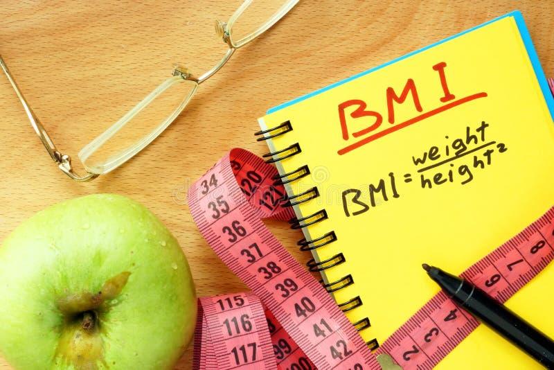BMI ciała masy wskaźnika formuła obraz stock